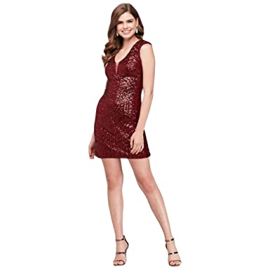 David s Bridal Cap Sleeve Sequin Short Sheath Prom Dress Style 74097 ... 51ead1259