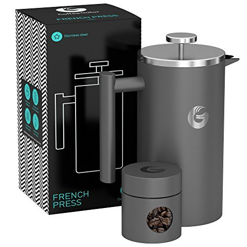 Large French Press Coffee Maker – Vacuum Insulated Stainless Steel With Double Filter, Travel Canister and eBook – By Coffee Gator, 34floz, Gray (1 Mugs Christmas)