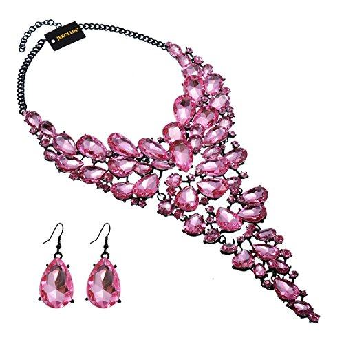Jerollin Women's Wedding Bridal Austrian Crystal Teardrop Cluster Statement Bib Pendant Necklace Dangle Earrings Jewelry Set