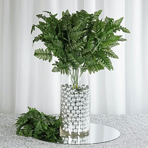 BalsaCircle 144 Green Artificial Leather Fern Branches - 12 bushes - Artificial Flowers Wedding Party Centerpieces Bouquets