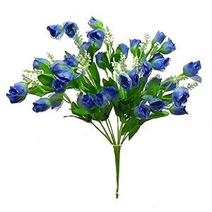 "16"" Mini Sheer Rose Bud Bush Silk Wedding Flowers Bridal Bouquets (Light Blue) 105"