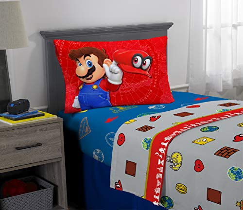 Nintendo Super Mario Odyssey Kids Bedding Soft Microfiber Sheet Set, 3 Piece Twin Size, Multi-Color - Nintendo Soft Toy