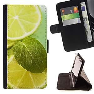 BullDog Case - FOR/Sony Xperia M2 / - / Fruit Macro Lime & Mint /- Monedero de cuero de la PU Llevar cubierta de la caja con el ID Credit Card Slots Flip funda de cuer