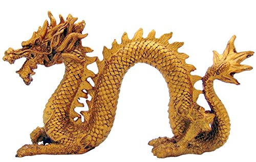 (Golden Fung Shui Chinese Dragon Statue for Luck & Success Home Decor 7 Inches Long)