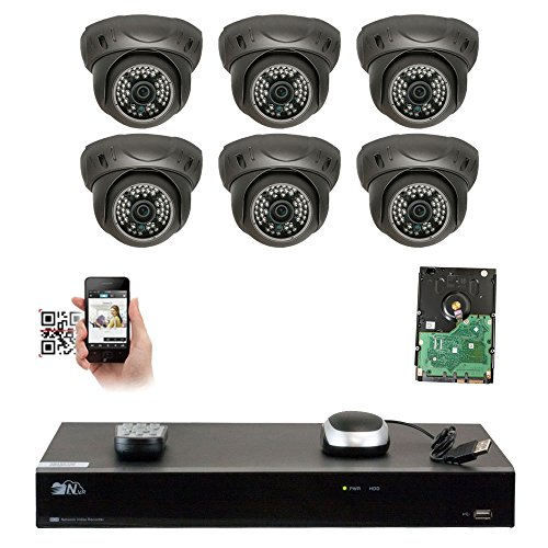 GW Security 8 Channel 4K NVR 5MP IP Camera Network PoE Surveillance System with 6-Piece HD 1920P Weatherproof Dome Security Cameras - Grey