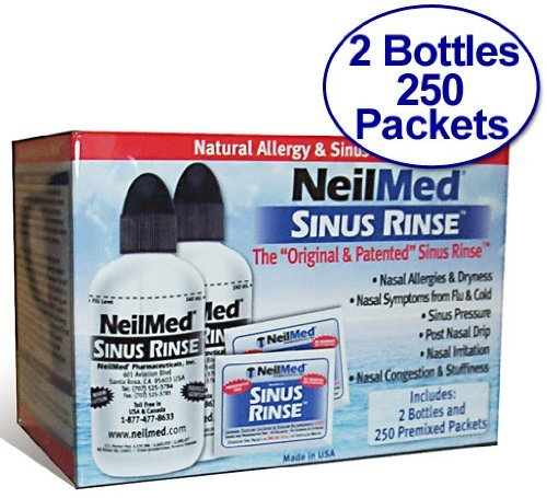 NeilMed Sinus Rinse - 2 Bottles - 250 Premixed Packets
