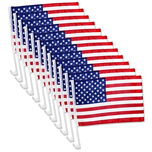 (12x US American Patriotic Car Window Clip USA Flag 17