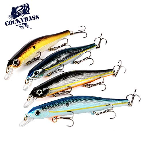 - COCKYBASS Fishing Lures Crankbait Bass Fishing Swimbaits Jerkbait Squarebill Lures for Bass,Shallow Diving Crankbait Hardbait Minnow Pike Lures Fishing Tackle Kits(Pack of 4)