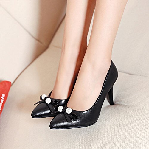 Carolbar Womens Bows Pointed Toe Rhinestones High Heels Stilettos Pumps Shoes Black 4oUuU0