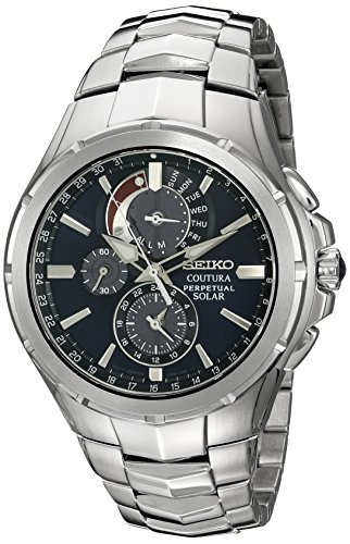 Seiko Men's SSC375 Coutura Solar Perpetual Chrono Analog Display Japanese Quartz Silver Watch