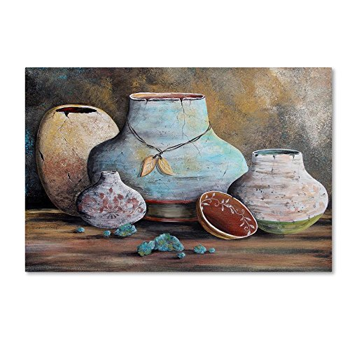 Clay Pottery Still Life 2 by Jean Plout, 22x32-Inch Canvas Wall (Southwestern Pottery)