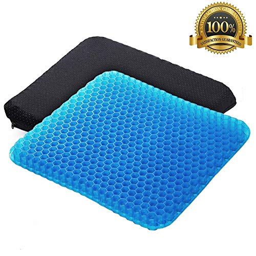 Angushy Gel Seat Cushion, Egg Seat Cushion Wheelchair Cushion with Non-Slip Cover, Breathable Chair Pads Honeycomb Design Absorbs Pressure Points for Car Office Chair Wheelchair (On Gel Tv Seen Cushion Seat As)
