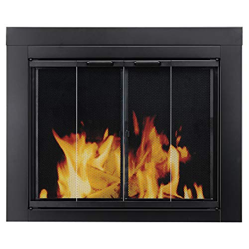 Pleasant Hearth AT-1001 Ascot Fireplace Glass Door, Black, Medium (Glass Cover Fireplace Mesh)