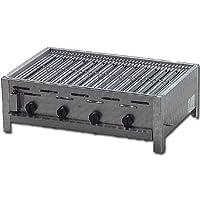 Tischbräter 4-flammig 3+1 Gas Brenner klein silber Tableroaster Balkon ✔ eckig ✔ Grillen mit Gas ✔ für den Tisch