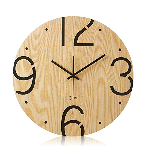 Imoerjia Creative Personality Wooden Wall Clock Living Room Study Room Wall Decoration Mute Clock Table,35Cm by Imoerjia