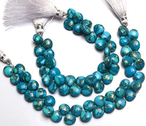 1 Strand Natural Mojave Blue Copper Turquoise 10MM Approx. Smooth Heart Shape Briolette Beads 6.5 Inch by Gemswholesale