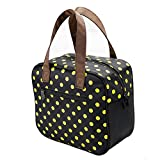 Baoni 7L Big Insulated Lunch Bag Cartilage Support Foldable Senior Oxford Easy to clean Child Lunch Box Bag Fashion Zipper Adult Outdoor Recreation Picnic Cooler Bag (Yellow dot Black) Review