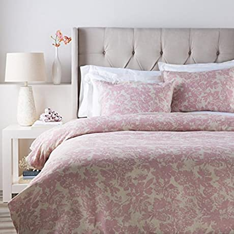 Dusty Rose Pink And Cool Gray Blossom Dreams Linen Decorative King CA Duvet