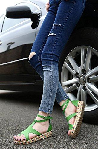 Vert Plateforme Schuhe Flops Tongs Spartiates Flip Minetom Mode Sandales Espadrilles Grande Femme Flache Taille Boucle Ouvert Plate Vacances Römisch Été Bout RwYq1w