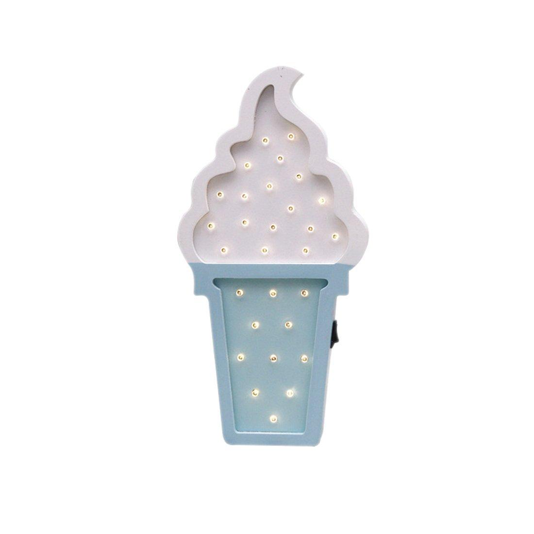 SODIAL カートゥーン ホワイト ブルー 北欧スタイル ナイトライト 写真小道具 アイスクリーム型 LED 木製 カートゥーン ナイトライト 壁掛け装飾ランプ 子供部屋装飾 写真小道具 ホワイトブルー B07CSQSVFF, オオガキシ:80c6a6c5 --- ijpba.info