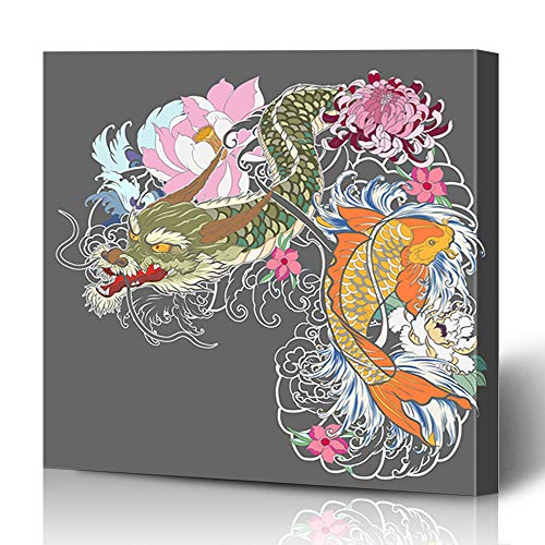 Ahawoso Canvas Prints Wall Art 16x16 Inches Nature Red Asian Dragon Koi Fish Flower Page Black White Carp Design Oriental Decor for Living Room Office Bedroom