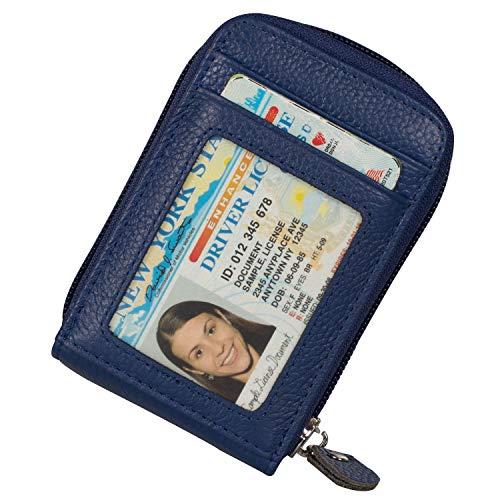 Noedy RFID Blocking Credit Card Case Organizer Genuine Leather Zip-Around Security Wallet Blue