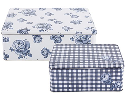 Set of 2 Katie Alice Vintage Indigo Rectangular Nesting Cake Tins