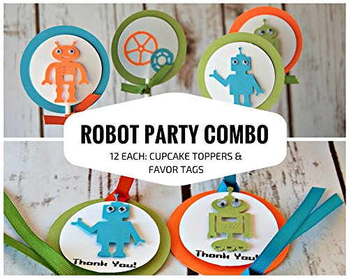 12 each: Robot Party Cupcake Toppers and Favor Tags