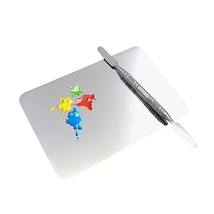 Zhi Jin 1pc bandeja de acero inoxidable paleta de pintura uñas arte pintura soporte para mancuernas