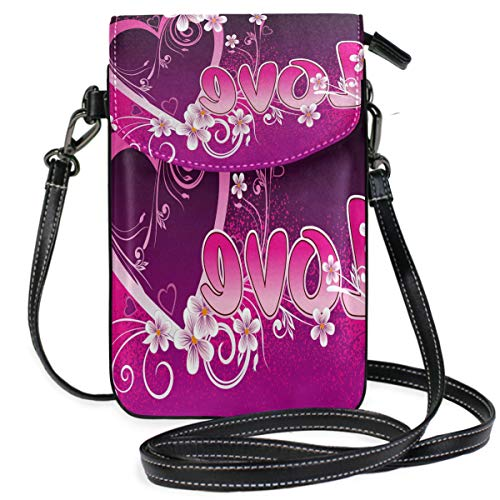 (Beautiful Valentine's Day Small Crossbody Bag Cell Phone Pouch Womens Cute Leater Handbag)