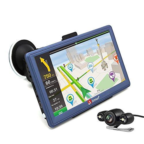 junsun 7 Car GPS Navigation Android Navigator Rear view Camera Truck Vehicle Gps Sat Nav Lifetime Maps