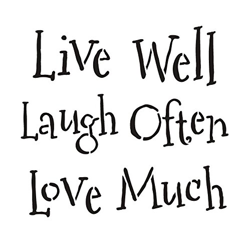 """UPC 605349473647, Live Well Laugh Often Love Much Word Stencil - Whimsical - 7"""" x 7"""""""