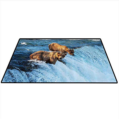 Wildlife Decor Dining Room Home Bedroom Carpet Grizzly Bear in The Stream River Fishing Alaskan Salmon Savage Carnivore Artwork Home Decor Area Rug 3'x5' (W90cmxL150cm) Brown Blue