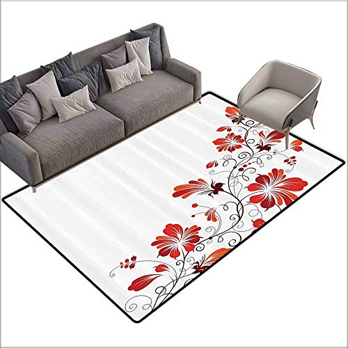 Outdoor Floor Mats Traditional House Decor,Chinese Purity Symbol Blooms with Curved Lace Branch and Leaves,Red White 48