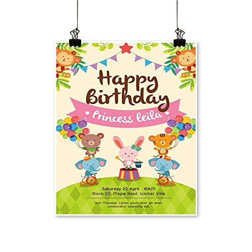 Wall Decor Birthday Invitation car Circus imals on Grass Set Wall Art for Bedroom Home,20