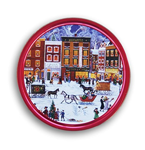 Christmas Holiday Butter Cookies Tin (Village Scene) Christmas Cookies