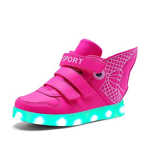 KIDS BOYS GIRLS High Top USB Charging LED Shoes Flashing Sneaker Goldfish Wing children Luminous shoes (Pink 3 M US Little Kid)