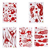 Yoodelife 100Pcs Halloween Haunted House Decorations Window Clings Bloody Handprint Footprint Stickers Vampire Zombie Party Decals, 10 Sheets