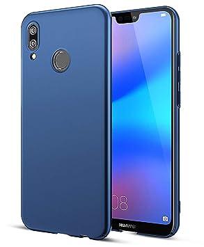 EIISSION Funda Compatible con Huawei P20 Lite Funda,Carcasa ToughShell Funda táctil Funda Mate Funda Duro y Flexible Carcasa (Azul Oscuro)