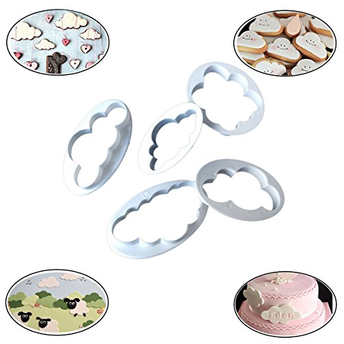 Fashionclubs 5Pcs Christmas Fluffy Cloud Fondant Sugar Cookie Biscuit Cake Cutter Mold