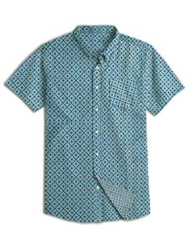 - NUTEXROL Men's Premium Polka Dot Print Casual Shirt Short Sleeve Cotton Shirts Triangle Green 2XL