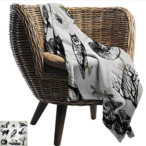Anshesix Cozy Flannel Blanket Vintage Halloween Halloween Related Pictures Drawn by Hand Raven Owl Spider Black Cat Light and Warm W54 xL72 Sofa,Picnic,Camping,Beach,Everyday use ()