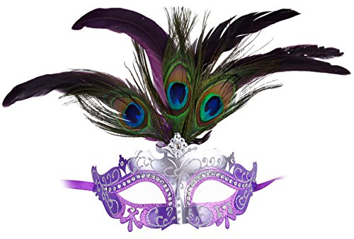 Coxeer Womens Masquerade Mask Mardi Gras Mask with Peacock Feather Venetian Mask (Purple Masquerade Dresses)