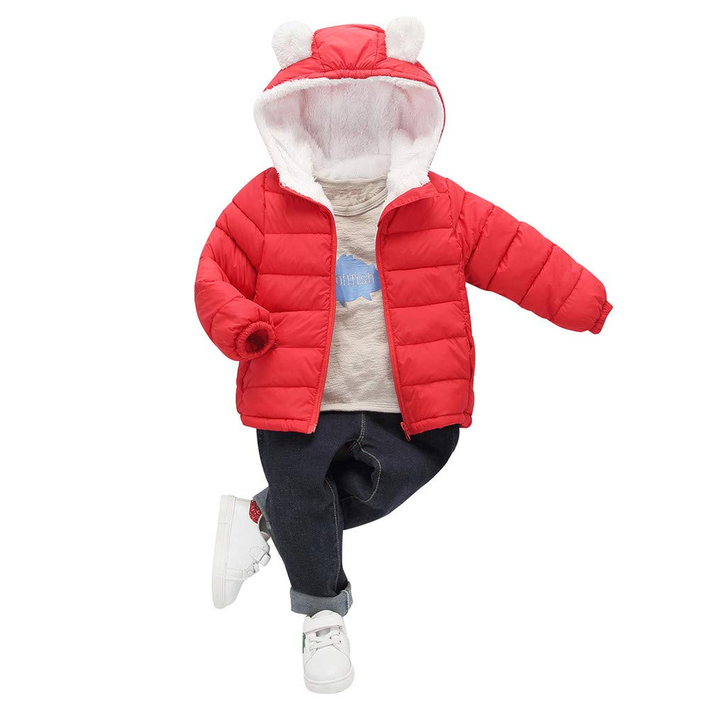 VEKDONE Baby Boys Girls Winter Coats Ear Hoods Light Puffer Down Jacket Outwear