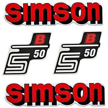 Set Aufkleber Klebefolie Für Simson S50 B Rot Für Tank Und