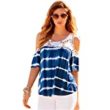 #9: HANYI Elegant Shirt Lady Girls Summer Beach Fashion Sexy Print Lace Blouse Tops