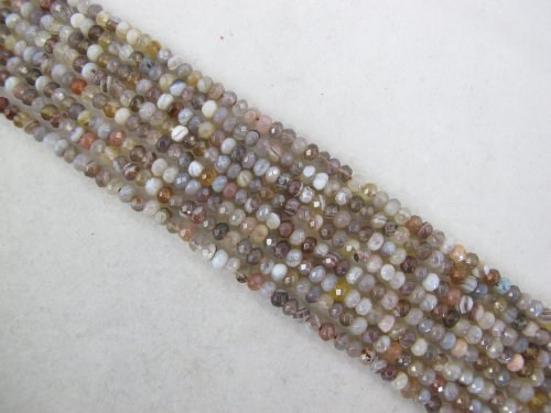 (Agate Natural Gemstone Botswana Agate Brown Color Faceted Rondelle 2x4mm Shape 130pcs 15.5'' Per Strand)