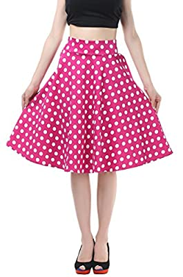 BI.TENCON Women Vintage Skirt Smock Waist Rockabilly Swing Casual Party Skirts