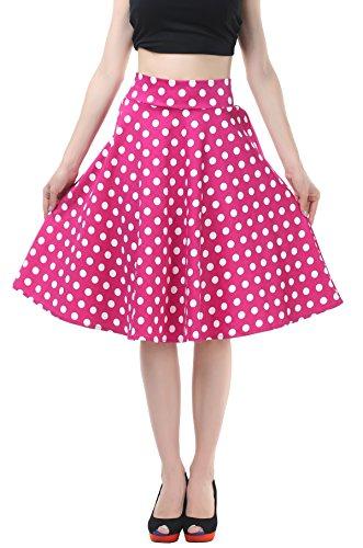BITENCON-Women-Vintage-Skirt-Polka-Dot-Smock-Waist-Rockabilly-Swing-Casual-Party-Skirts