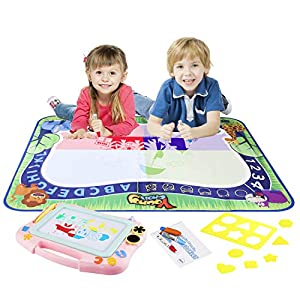 Young Choi's Kids Doodle Toy Magnetic Drawing Board and Water Doodle Mat 2 in 1 Toy Set Pink, Toddlers Large Aqua Drawing Doodle Mat and Assorted Color Toy Writing Painting Pad